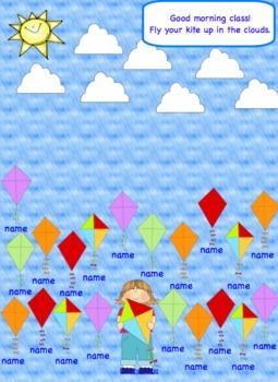 Attendance Kite  Smartboard Morning Interactive