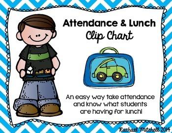 Attendance & Lunch Chart- Bright Chevron & Chalkboard