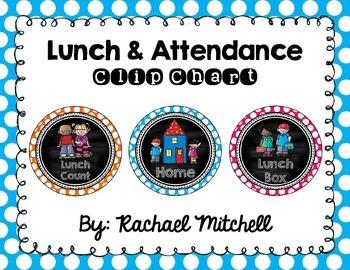 Attendance & Lunch Chart- Bright Polka Dot & Chalkboard
