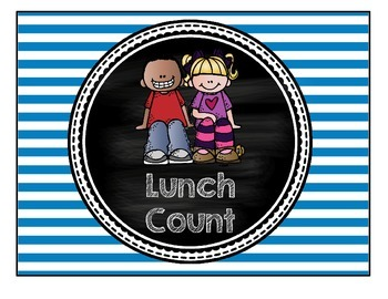 Attendance & Lunch Chart- Bright Stripes & Chalkboard