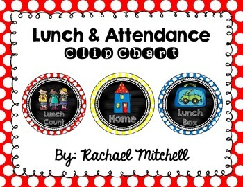 Attendance & Lunch Chart- Primary Polka Dot & Chalkboard