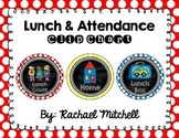 Attendance & Lunch Chart- Primary Polka Dot & Chalkboard
