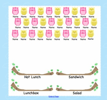 Attendance Lunch Owl Interactive Smartboard Morning