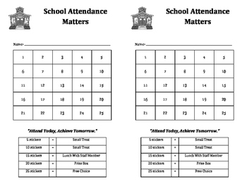 Attendance Matters sticker chart: rewards, incentives, prizes