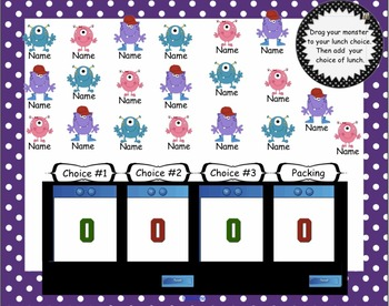 Attendance Monster Interactive Smartboard Morning with Four Options for Lunch