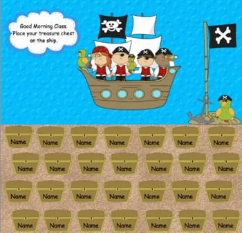 Attendance Pirate Themed Interactive Smartboard Morning