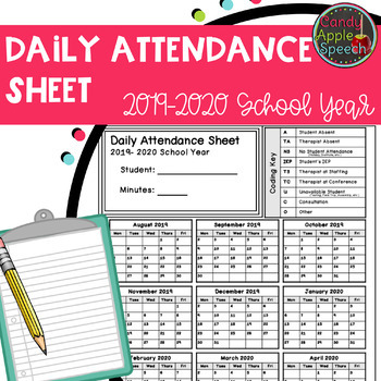 Daily Attendance Sheet: 2019-2020 School Year
