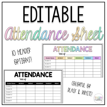 attendance sheet by flawless in fourth teachers pay teachers. Black Bedroom Furniture Sets. Home Design Ideas