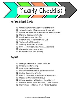 School Counseling Yearly Checklist