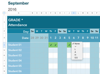 Smart Attendance Spreadsheet 2017-2018 (for Excel and Numbers)