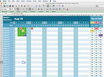 smart attendance spreadsheet 2018 2019 for excel by mrcdoublet