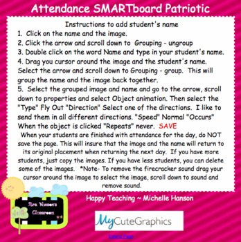 Attendance Summer Interactive Smartboard Morning with Sound of Running Water