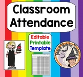 Classroom Attendance Editable Template Printable Excel Document Taking Roll