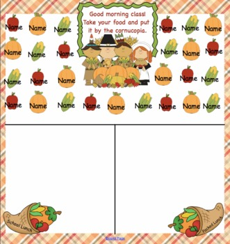 Attendance Thanksgiving  Interactive Smartboard Morning
