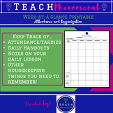 Attendance Tracking Printable Sheet - Middle or High school.