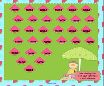 Attendance Watermelon Interactive Smartboard Morning