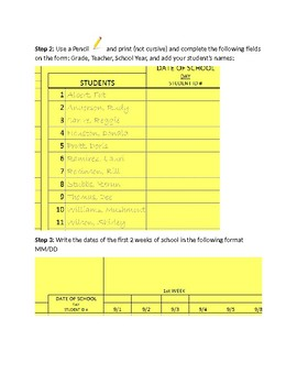 Attendance Yellow Card Instructions