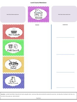 Attendance and Lunch Choice Worksheet