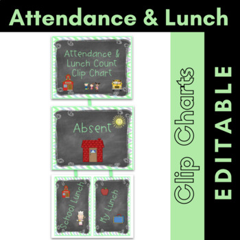 Attendance and Lunch Count Clip Chart {Editable} Chalkboard Theme
