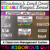Attendance and Lunch Count EDITABLE Magnet Board Flexible