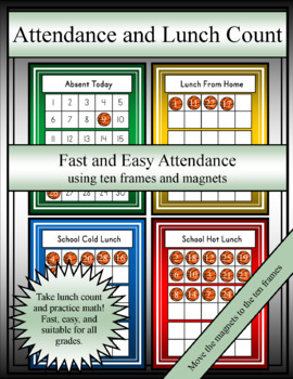 Attendance and Lunch Count Using Ten Frames (Editable)