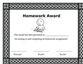Attendance, homework, reading log awards