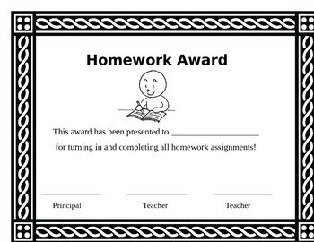 Attendance, homework, reading log awards