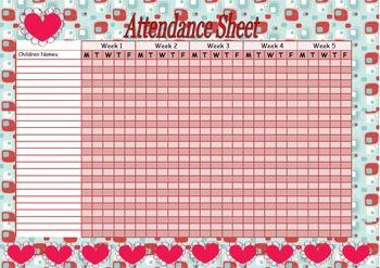 Attendance sheet-hearts