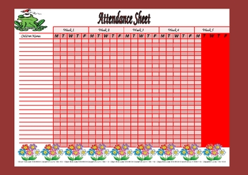 It is a graphic of Insane Free Printable Attendance Sheets for Teachers