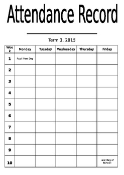 Attendance sticker chart for students