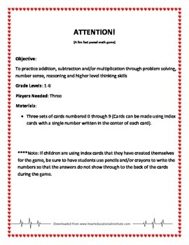 Attention -  A Math Fluency Game