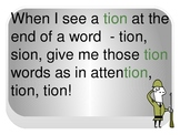 Attention! A presentation of words ending with -tion and -sion!