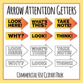 Attention Getters - Arrows with Words Clip Art Set for Commercial Use