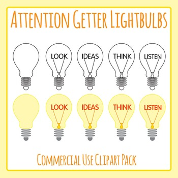 Attention Getters - Lightbulbs with Words Clip Art Set for Commercial Use