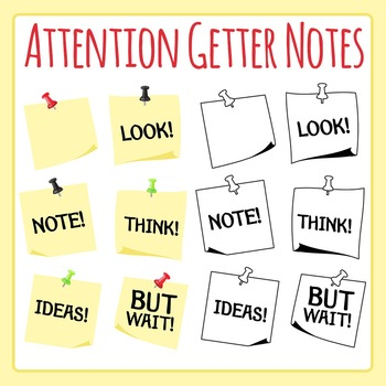 Attention Getters - Notes with Words Clip Art for Commercial Use