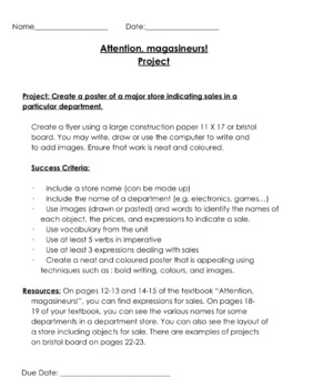 Attention Magasineurs (Shopping) French Activities- Unit overview and projects