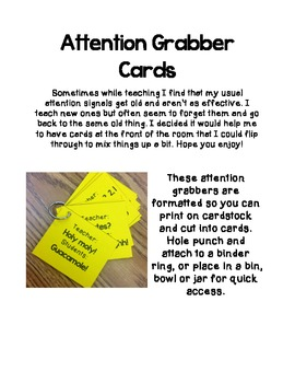 Attention Signal Cards {FREEBIE}