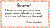 Attention in class congratulations ticket