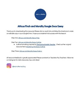 Atticus Finch And Morality Essay By Learn After Reading  Tpt Atticus Finch And Morality Essay Essay Paper Topics also Essays For Kids In English  My First Day Of High School Essay