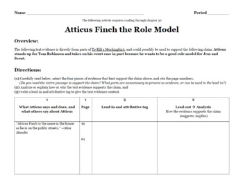 Atticus the Role Model Evidence-Based Writing To Kill a Mockingbird