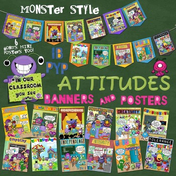 Attitude Banners and Posters MONSTER Style for IB PYP