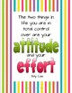 Attitude & Effort - Motivational Growth Mindset Poster