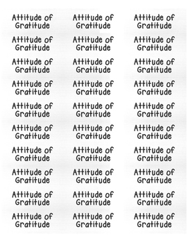 Attitude of Gratitude - Label Template for Thankfulness Activities