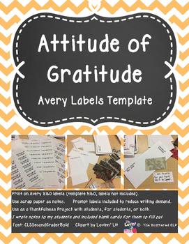 Attitude of Gratitude - Label Template for Thankfulness Ac