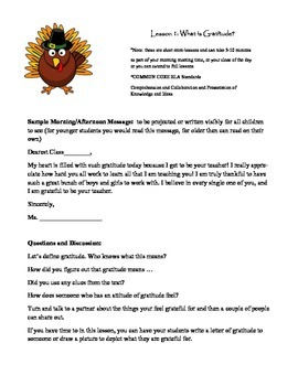 """Attitude of Gratitude """"Thanksgiving Themed Character Lessons for Every Child"""""""