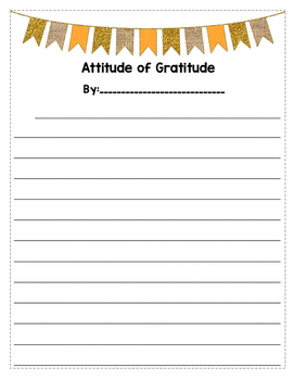 Attitude of Gratitude Writing Template