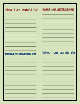 ATTITUDE of GRATITUDE simple writing activity