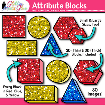 Attribute Blocks Clip Art {Counting and Sorting Manipulatives for Math Centers}