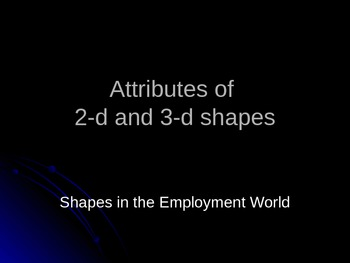 Attributes of 2 and 3-d shapes used in the real world
