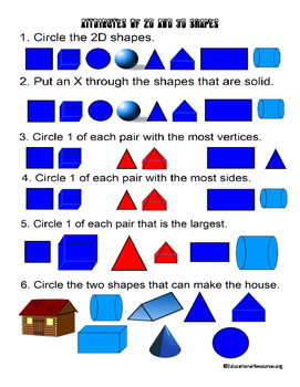 Attributes of 2d and 3d Shapes for 1st to 2nd Grade